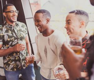 Black men enjoying a conversation